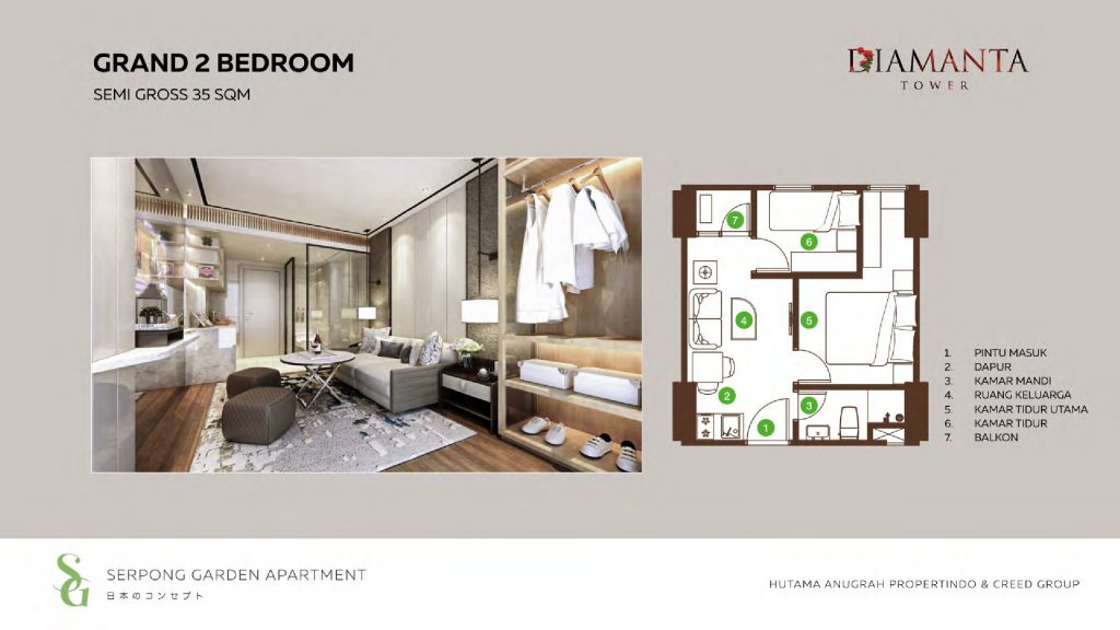 denah 2 Bedroom diamanta tower