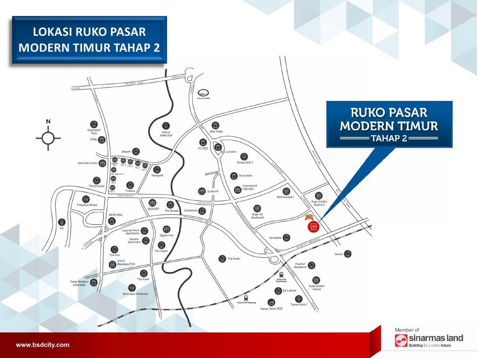 peta lokasi ruko pasar modern bsd