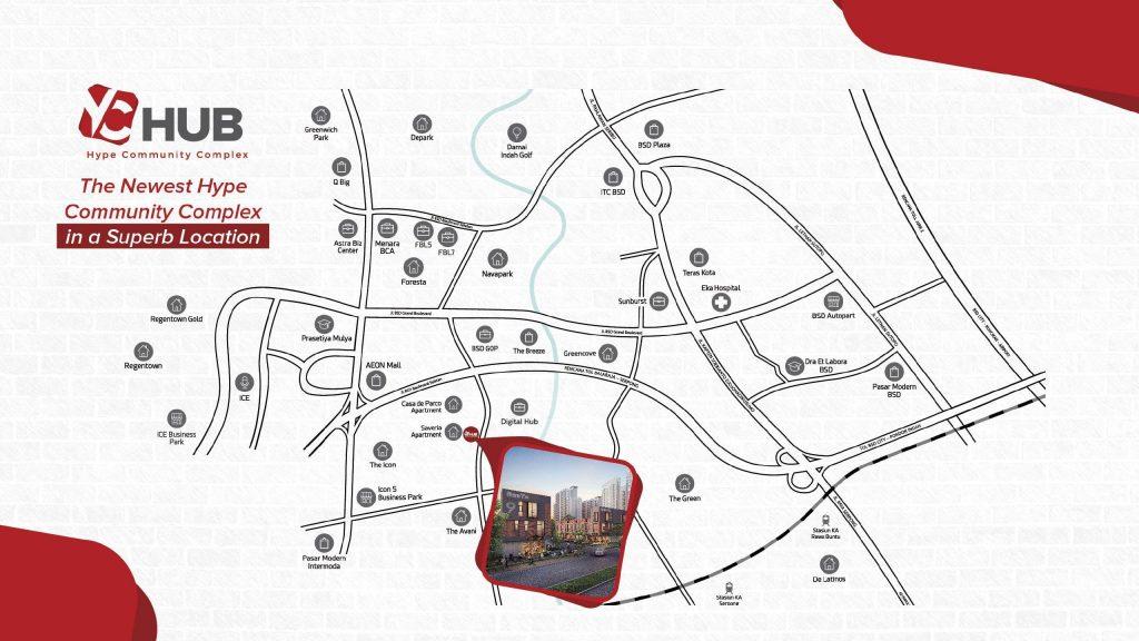 Peta lokasi Ruko YC Hub BSD