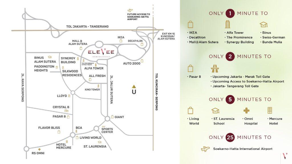 Peta lokasi Elevee Alam Sutera