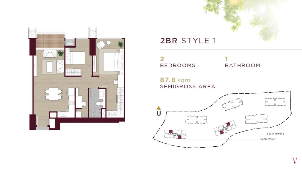 Layout 2BR style 1 Elevee