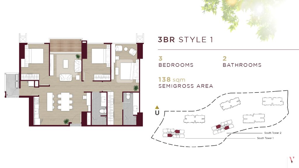 Layout 3BR style 1 Elevee