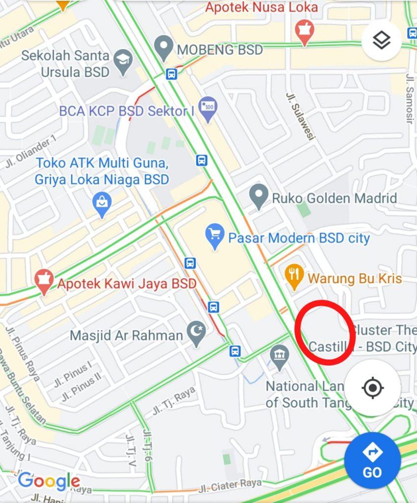 peta lokasi ruko golden madrid x