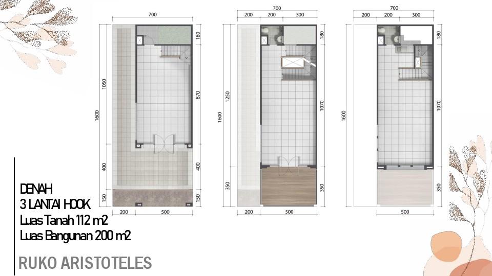 layout ruko hook 3 lantai